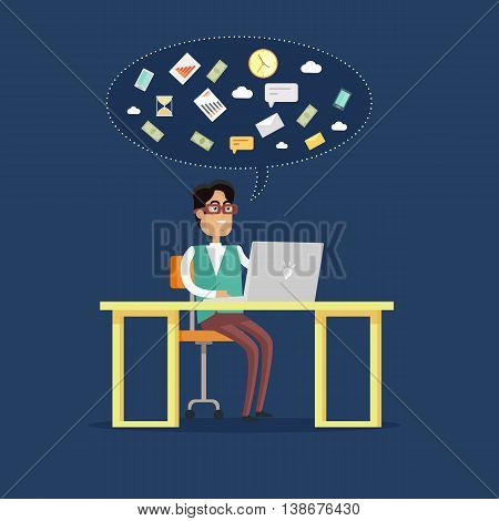 Young businessman works on his laptop in office, sitting at desk, looking at computer screen on blue background. Smiling young man personage. Flat design vector illustration.