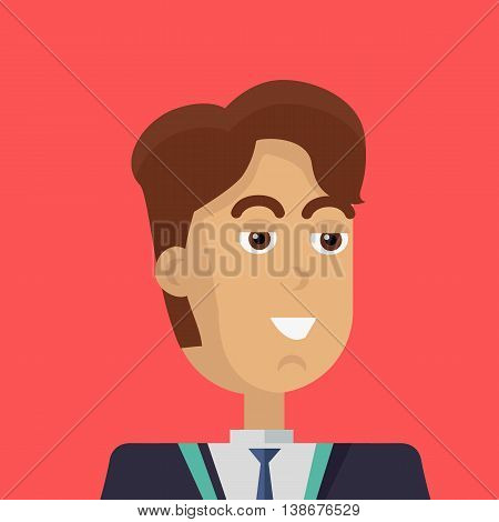 Businessman avatar icon isolated on red background. Man with brown hair in business suit and tie. Smiling young man personage. Flat design vector illustration