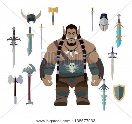 Orc with different weapons. Set of warrior with different weapons and armors. Game set. Stylized fantasy character. Game object in flat design isolated on white background. Vector illustration.