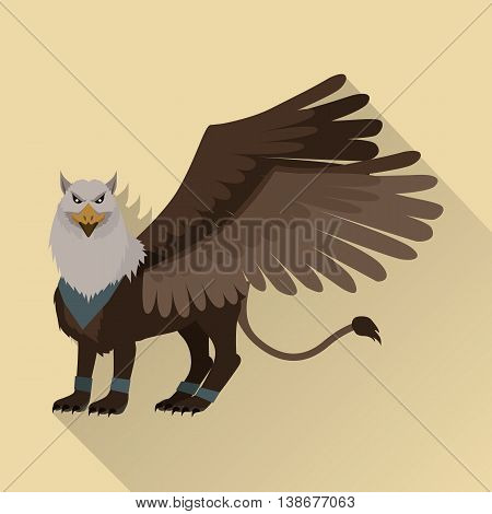 Mythical monsters griffin. Legendary creature with the body, tail, and back legs of a lion, head and wings of an eagle. Game object in flat design isolated. Vector illustration.
