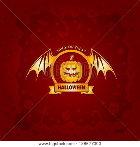 Beautiful Halloween background with golden pumpkin design and skulls, crosses, ghosts, zombies, coffins, bats and candies