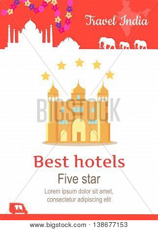 Travel India conceptual poster in flat style design. Summer vacation in exotic countries illustration. Journey to India vector template. Best hotels adn five stars service concept.