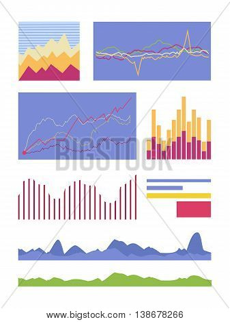 Set of graphic symbols for infographics. Statistic element vector collection. Graphics peaks, curves fluctuations and column diagram illustrating. For business, social, political concepts. On white.