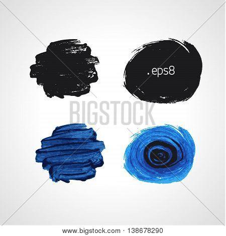 Black and blue grunge hand drawn round blobs. Black and white Vector set.