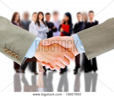 Handshake und Business team