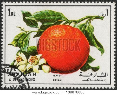 SHARJAH - CIRCA 1972: A stamp printed in Sharjah shows a series of images of