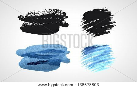 Black and blue grunge hand drawn blobs. Black and white Vector set.