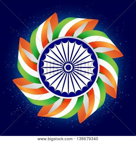 Happy Independence Day of India. 15th august. Vector illustration. Abstract background.