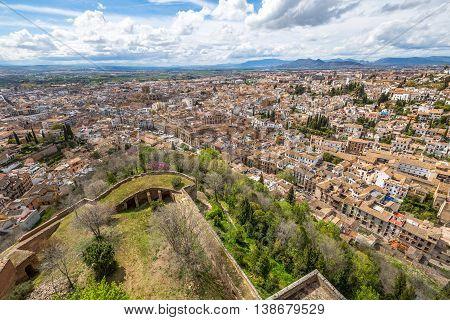 Aerial view of Granada town. Alcazaba of Alhambra de Granada in Andalusia, Spain.
