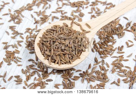 Close up of cumin seeds . Macro.