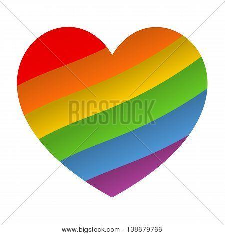 Rainbow heart icon. LGBT flag, symbol. Vector eps 10