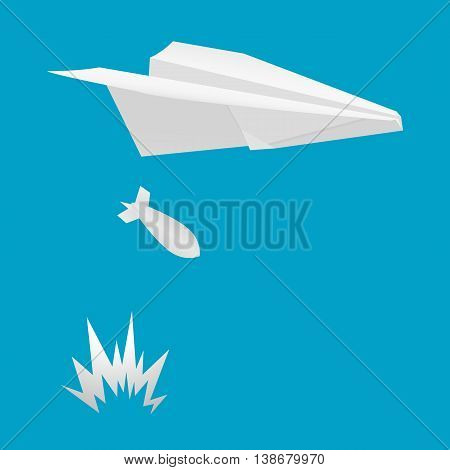 Airplane dropped bombs. Vector illustration on a blue background.