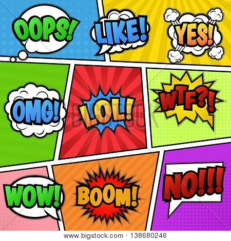 Set of nine different, colorful stickers at colorful comic strip background.. Pop art speech bubbles with LOL, LIKE, BOOM, WOW, WTF, NO, OMG, OOPS, YES. Isolated vector eps 10