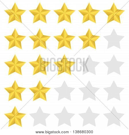 Five stars rating. Bright, embossed, shiny Vector isolated eps 10