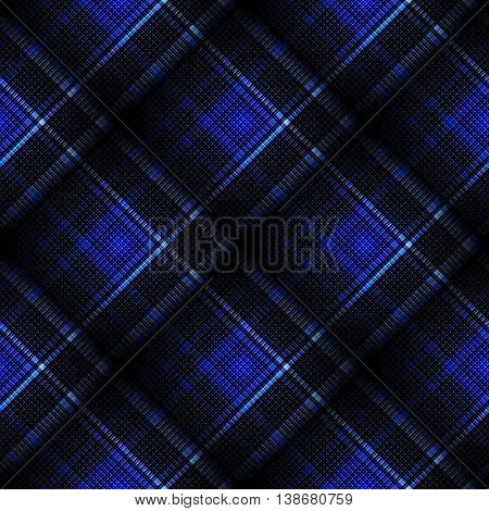 Checkered seamless black and blue pattern. Cowboy ornament. Abstract symmetrical background. Vector eps10