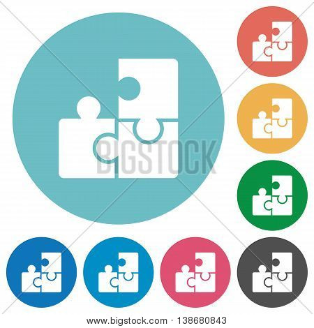 Flat puzzle icon set on round color background.