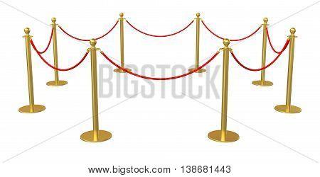 Barrier rope on white background. 3D illustration