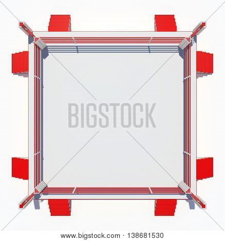 Boxing ring isolated on white background. Top view. 3D rendering