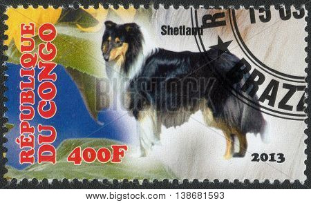 CONGO - CIRCA  2013: A post stamp printed in Congo shows a series of images Sheltie