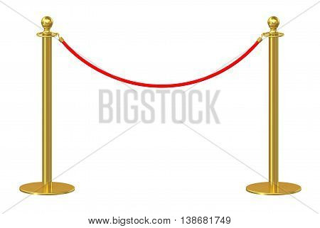 Barrier rope isolated on white background. 3d illustration