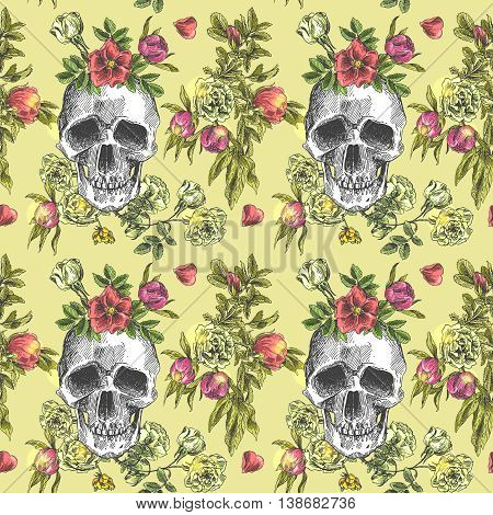 Beautiful hand drawn vector illustration sketching of skull and flowers. Boho style seamless pattern. Use for postcards, print for t-shirts, posters, wedding invitation, tissue, linens