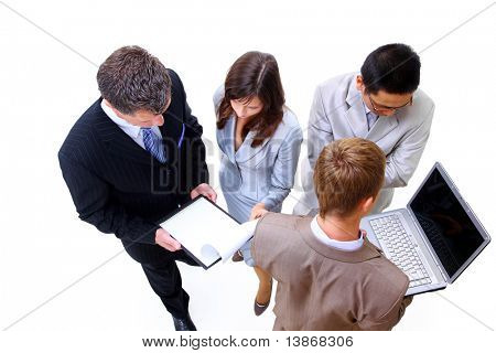 Top view of a group of business people standing together