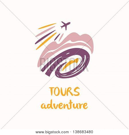 Vector Logo Travel Company. Tourist Trip. Illustration With Airc