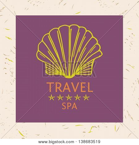 Design Logotype Of Cruise Travel And Spa. Hand Drawn Silhouettes