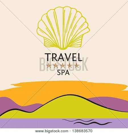 Design Logo Of Cruise Travel And Spa On Color Background. Hand D