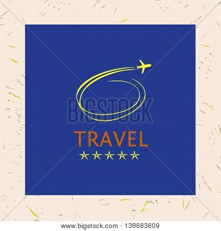 Design Logotype Of Cruise Travel. Hand Drawn Silhouettes Of Airc