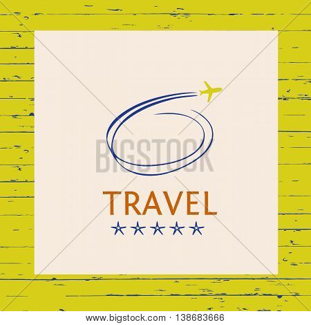 Design Logo Of Cruise Travel On Wood Background. Hand Drawn Silh