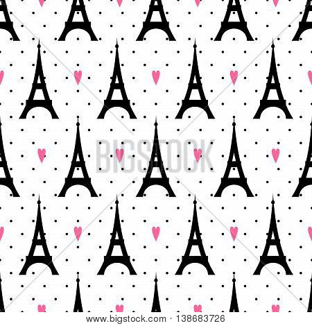 Tour Eiffel with pink hearts seamless pattern on polka dot background. Paris symbols vector illustration. Romantic travel in Paris. Design for textile, wallpaper, web, fabric and decor.