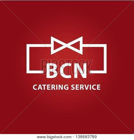 Vector Logo For Catering Service Restaurant Cafe. Illustration For Premium Bar Menu On Dark Red Back