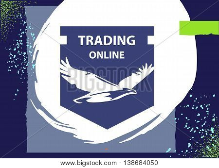 Vector Logo For Business Trading Online With Silhouette White Eagle On Dark Blue Shield. Concept Log