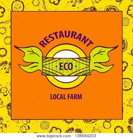 Vector Logo Local Farm Products. Hand Drawn Logotype And Vegetab