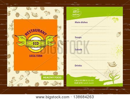 Vector Logo Local Farm Products. Hand Drawn Logotype And Menu Fo