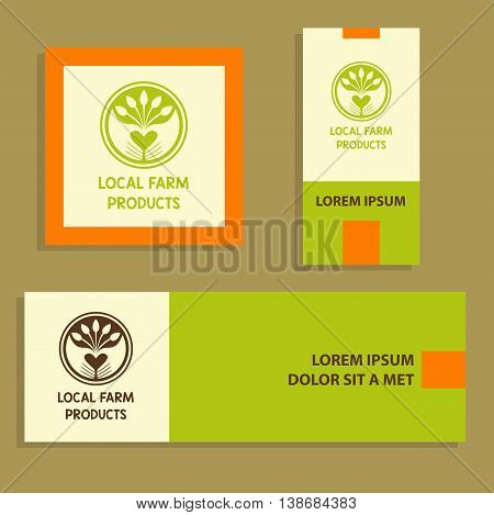 Vector Logo Local Farm Products. Hand Drawn Logotype And Card, B