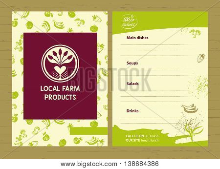 Vector Logo Local Farm Products. Hand Drawn Logotype Restaurant,
