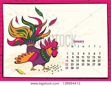 Calendar Of 2017 Chinese New Year Of The Rooster. Month January.