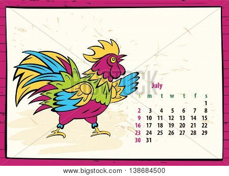 Calendar Of 2017 Chinese New Year Of The Rooster. Month July. Ve