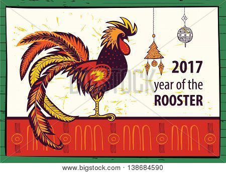 Poster Of 2017 Chinese New Year Of The Rooster.  Vector Hand Dra