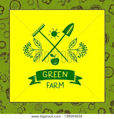 Green Farm. Sketch For Logo Agriculture, Horticulture. Branch Wi