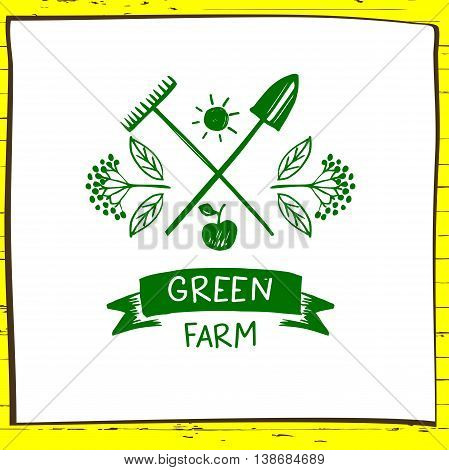 Green Farm. Sketch Logo For Agriculture, Horticulture. Branch Wi