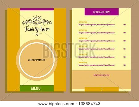 Family Eco Farm. Menu For Agriculture, Horticulture. Hand Drawn