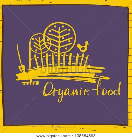 Organic Food. Sketch Logo For Agriculture, Horticulture. Rural L