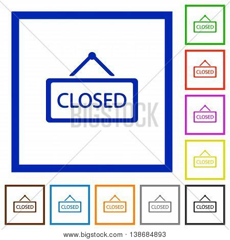 Set of color square framed Closed sign flat icons