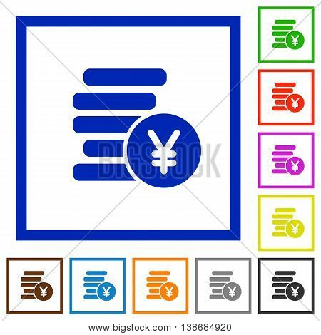 Set of color square framed Yen coins flat icons
