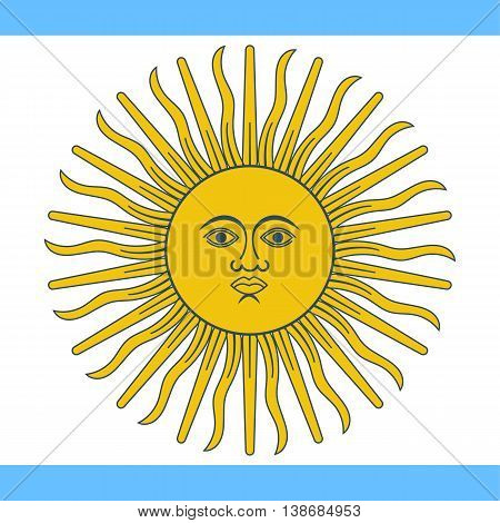 Argentina flag. Vector illustration of a flat design. Argentina Independence Day July 9.