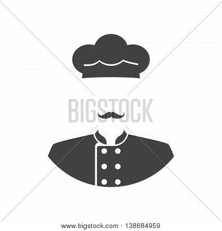Cook icon. Chef silhouette. Vector illustration flat style design. Mustachioed chef in cap and uniform pictogram. Professional on kitchen.