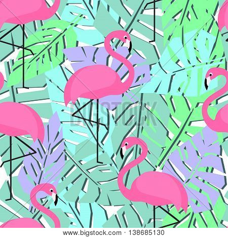 Tropical trendy seamless pattern with flamingos and palm leaves. Exotic Hawaii art background. Fashion design for textile, wallpaper, web, fabric and decor.
